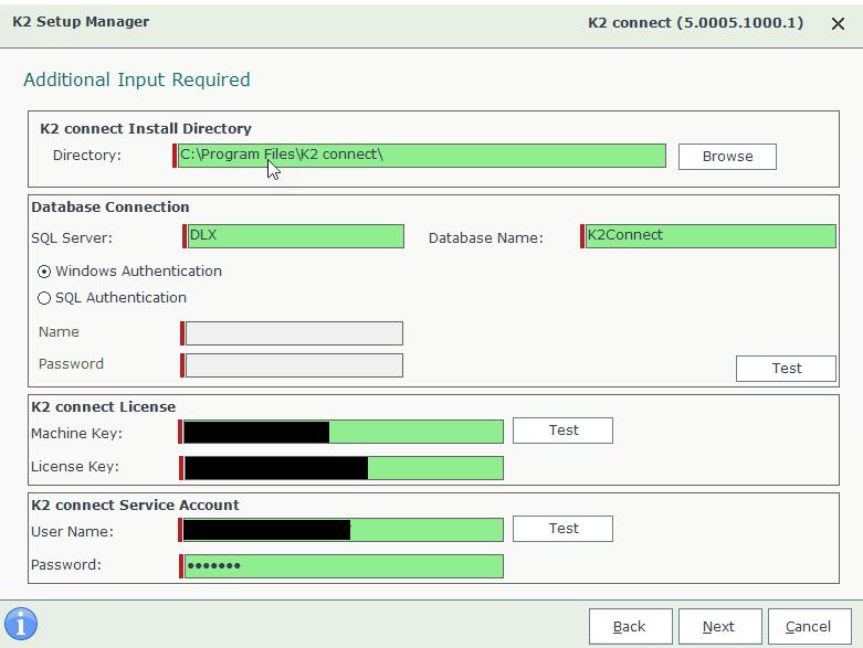 K2 Connect 5.2 Setup Wizard – Parameters Input