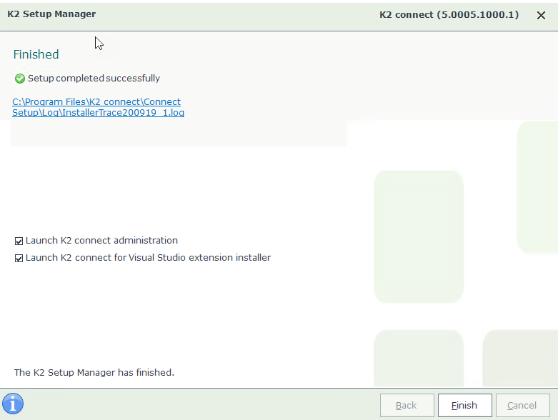 K2 Connect 5.2 Setup Wizard – Finished Page