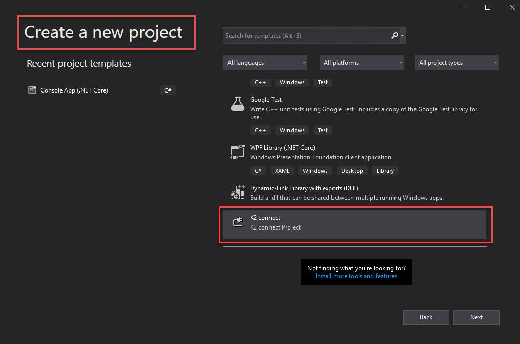 Visual Studio 2019 – Create K2 Connect Project