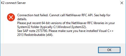 K2 Connect Destination Connection – Connection Test Failure due to Missing SAP NetWeaver RFC libraries