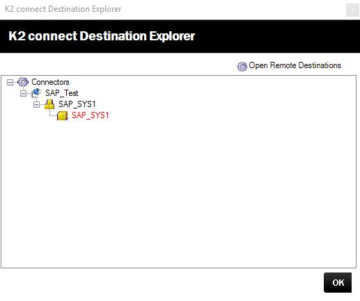 K2 Connect Destination Explorer – Connector, System and Destination Added