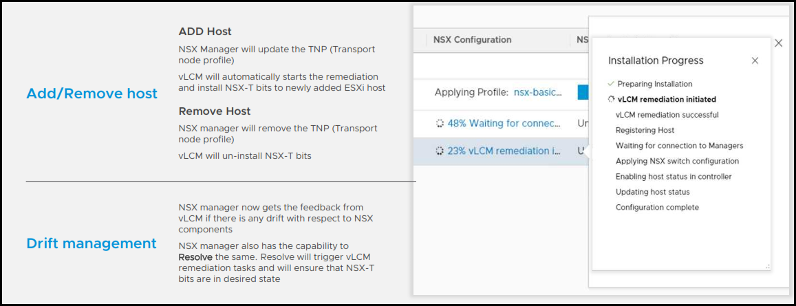 Configuration of NSX-T on vLCM enabled cluster