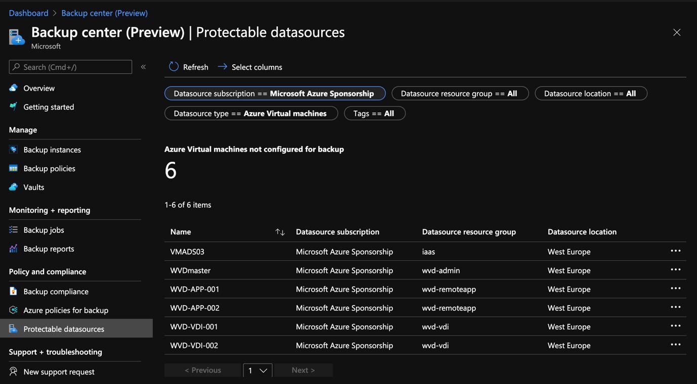 Azure Portal - Backup Center - Protectable datasources