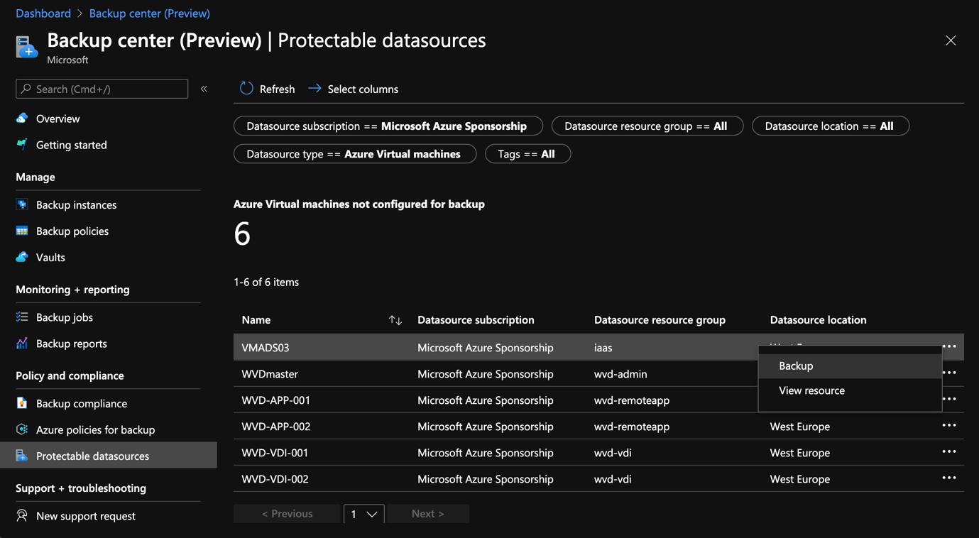Azure Portal - Backup Center - Protectable datasources - Selection of VM - Backup