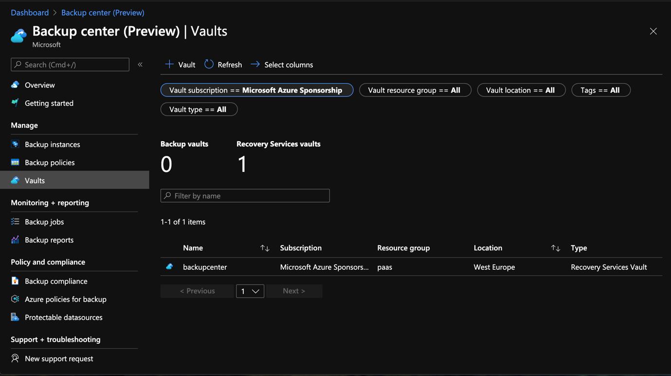 Azure Portal - Backup Center - Vaults