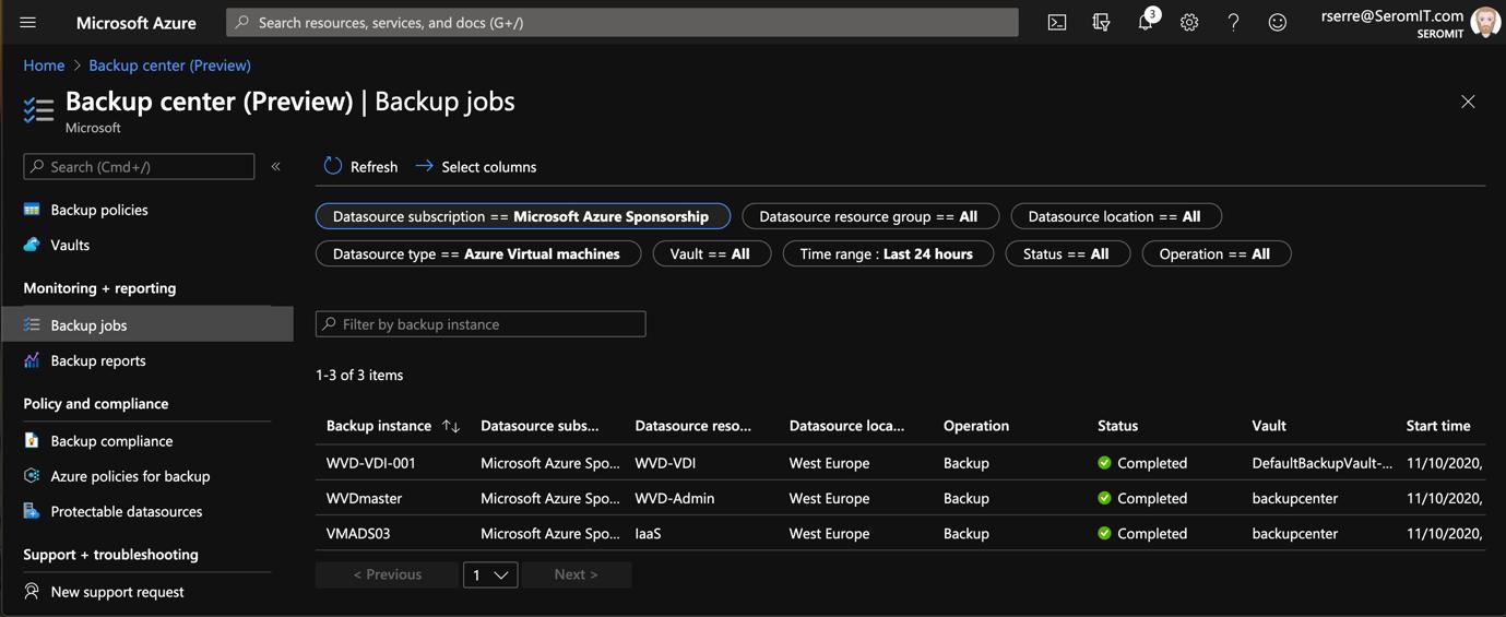 Azure Portal - Backup Center - Backup jobs