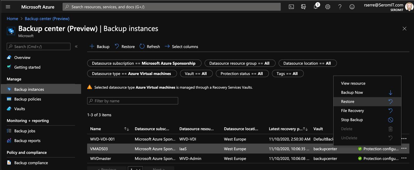 Azure Portal - Backup Center - Backup instances - selection the restore option