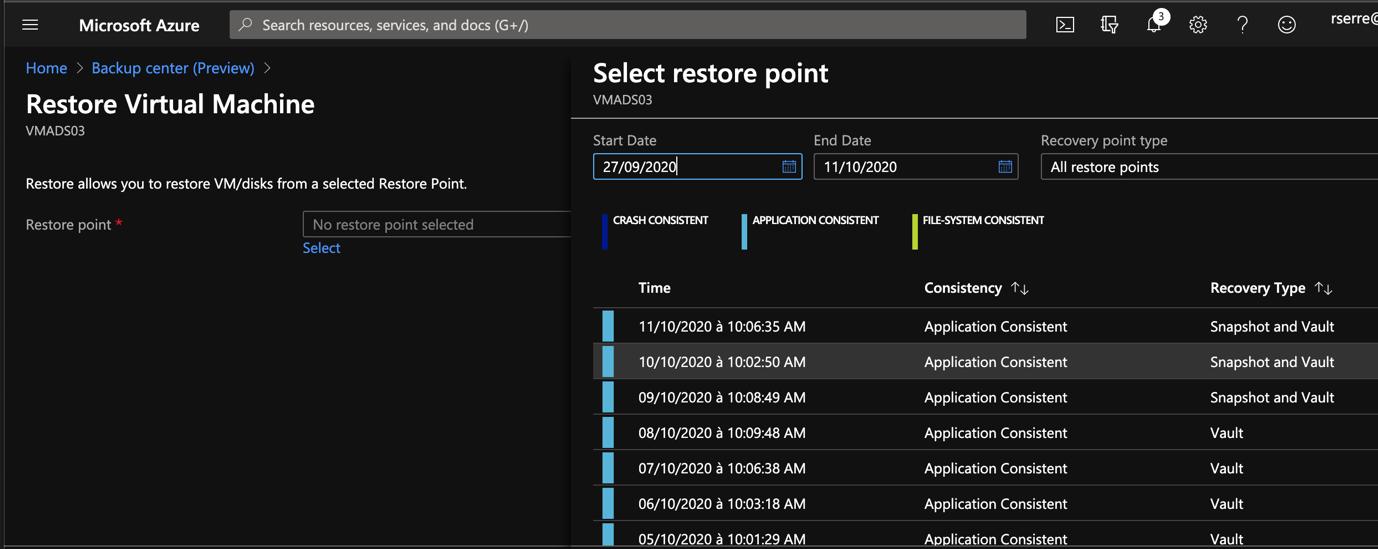 Azure Portal - Backup Center - Restore Virtual Machine