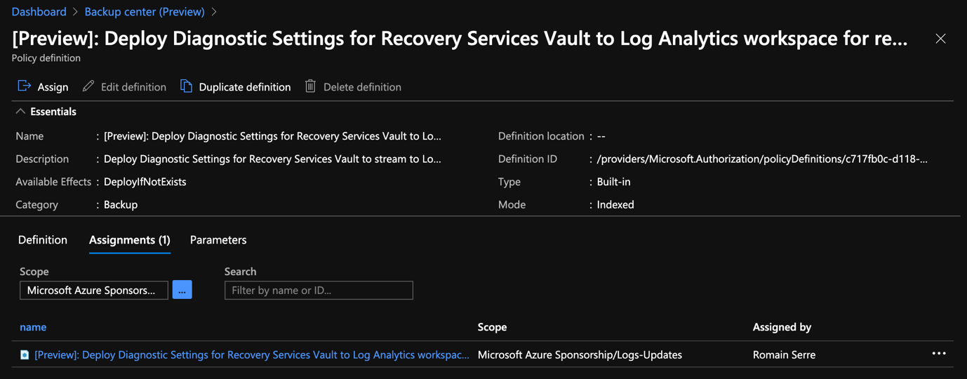 Azure Portal - Backup Center - Deployment Diagnostic Settings for Recovery Services Vault - Assignment