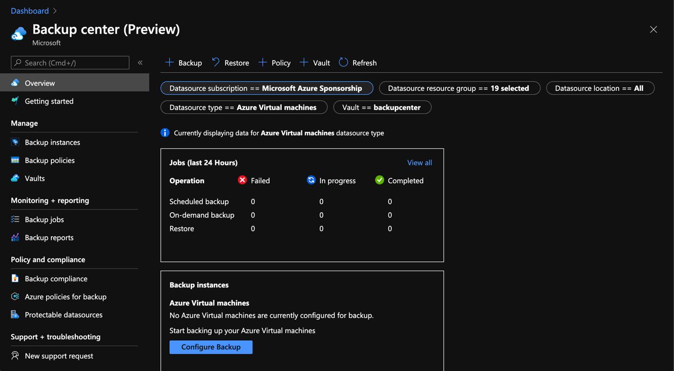 Azure Portal - Backup Center - Preview