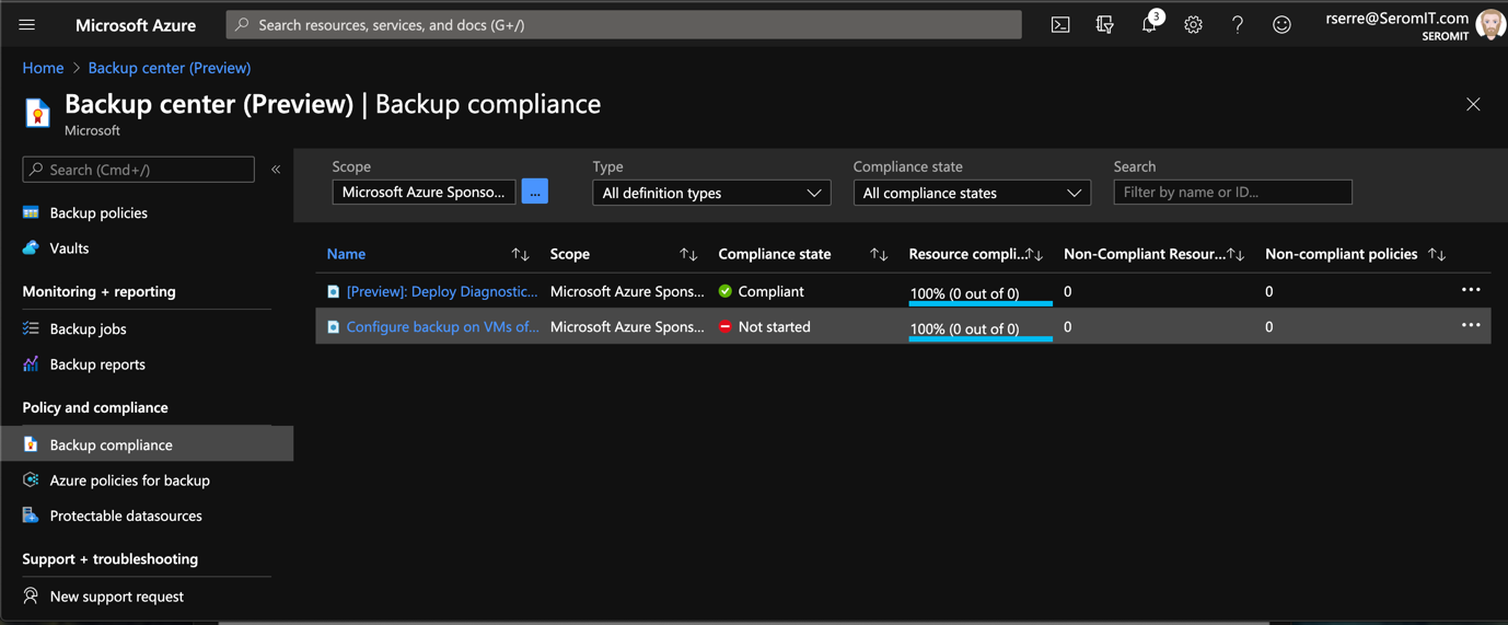 Azure Portal - Backup Center - Backup Compliance