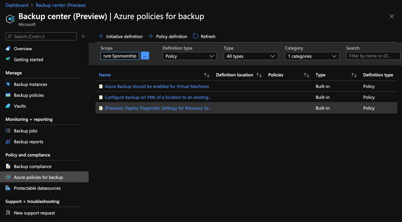 Azure Portal - Backup Center - Azure Policies for Backup