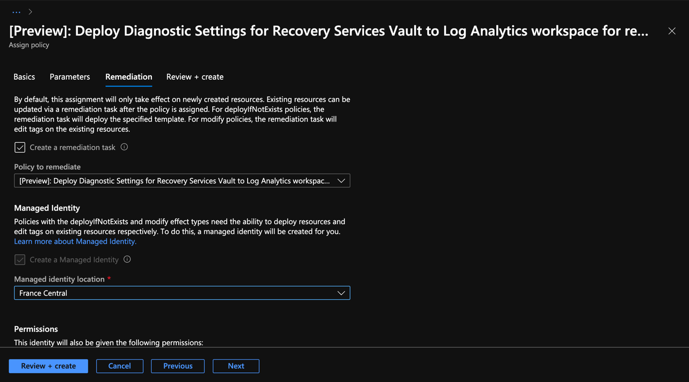 Azure Portal - Backup Center - Deployment Diagnostic Settings for Recovery Services Vault - Remediation