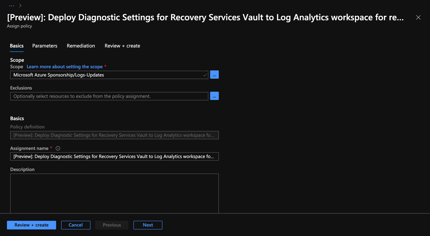 Azure Portal - Backup Center - Deployment Diagnostic Settings for Recovery Services Vault - Selection the scope