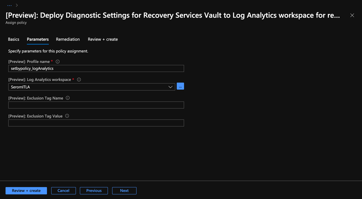 Azure Portal - Backup Center - Deployment Diagnostic Settings for Recovery Services Vault - Parameters