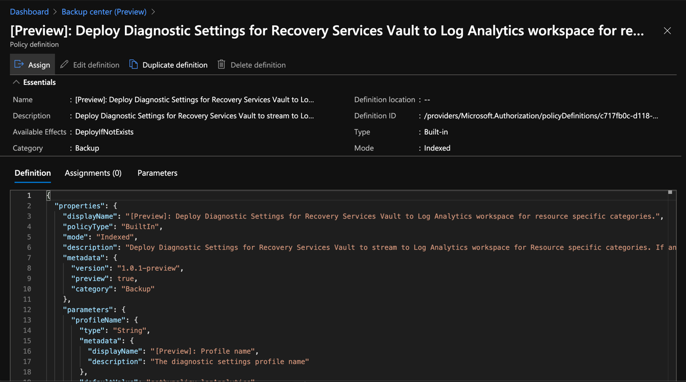 Azure Portal - Backup Center - Deployment Diagnostic Settings for Recovery Services Vault