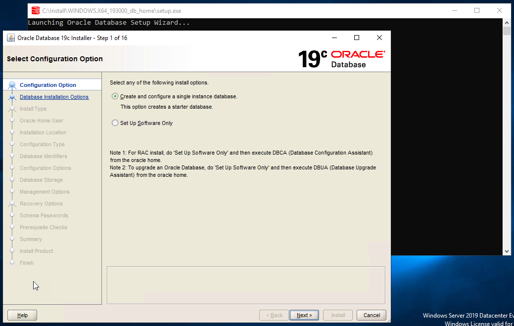 Oracle Database 19c Installer – Step 1 – Select Configuration Option