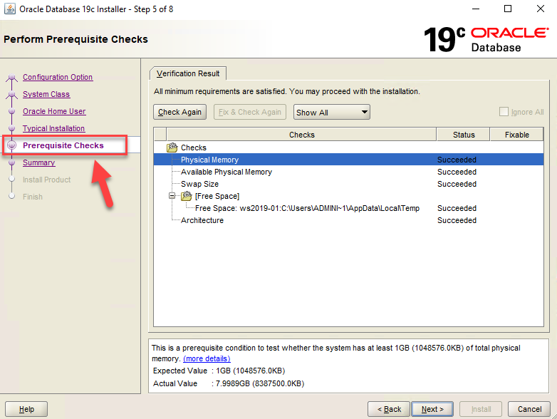 Oracle Database 19c Installer – Step 5 – Prerequisite Checks