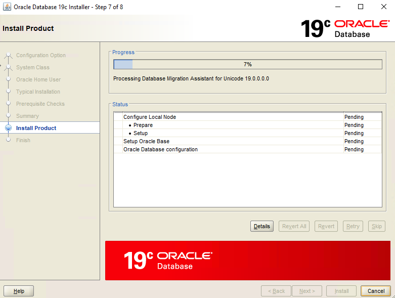 Oracle Database 19c Installer – Step 7 – Install Product