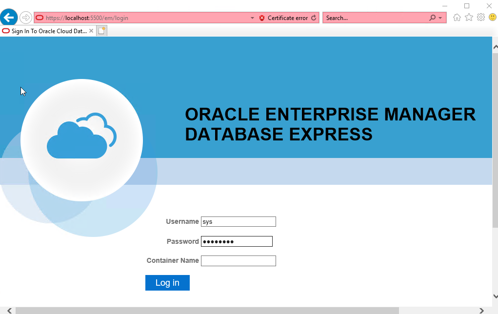 Oracle Enterprise Manager Database Express (EM Express) – Logon Page