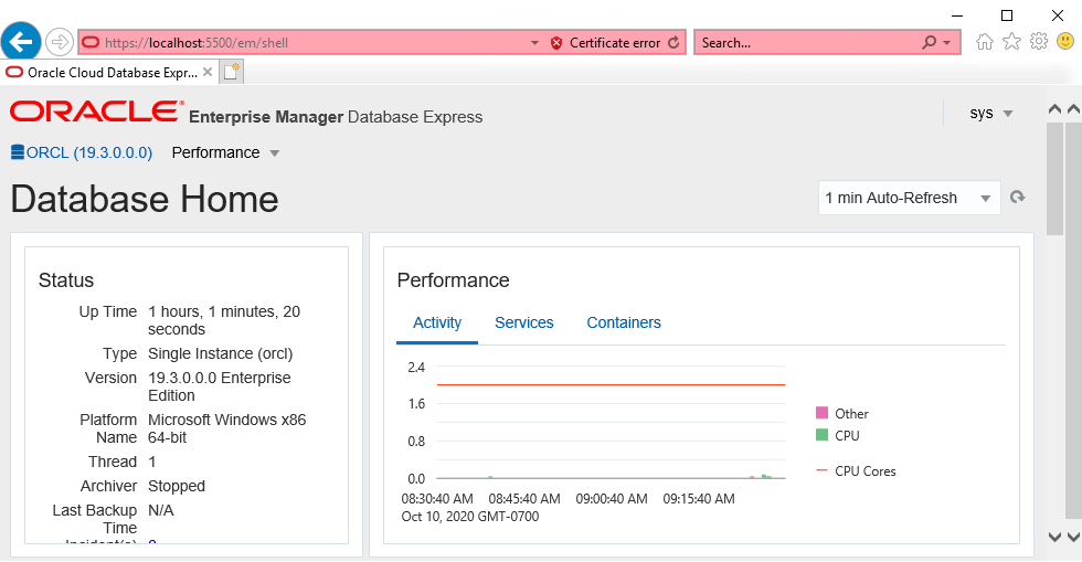 Oracle Enterprise Manager Database Express (EM Express) UI