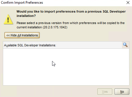 Oracle SQL Developer – Confirm Import Preference