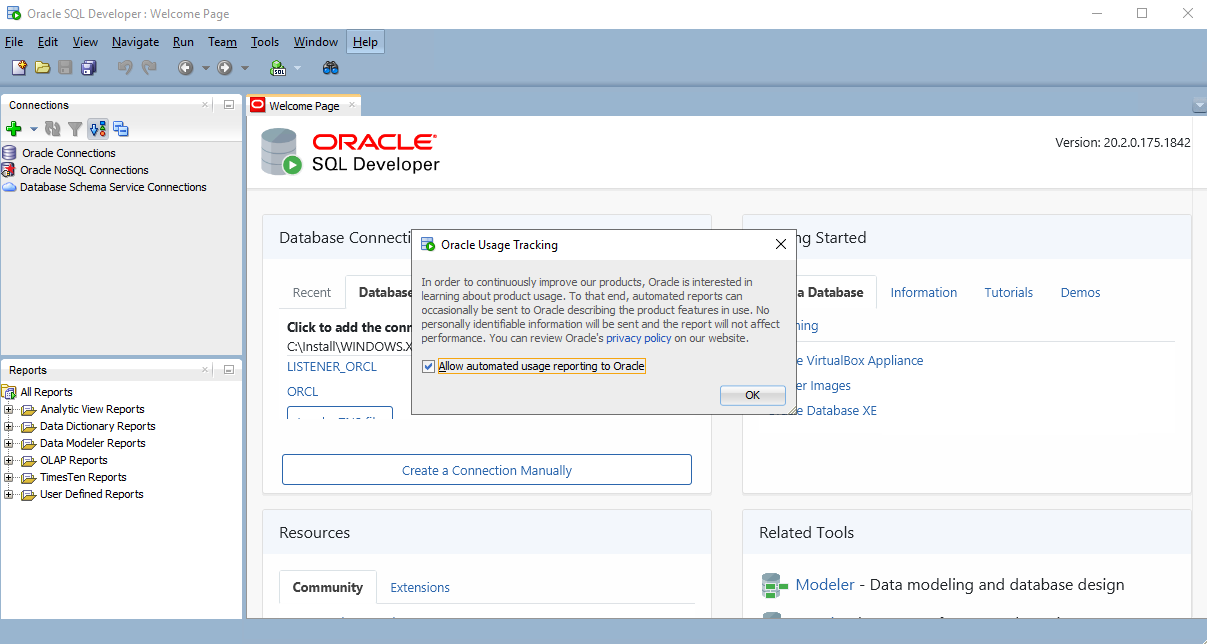Oracle SQL Developer - Oracle Usage Tracking pop up