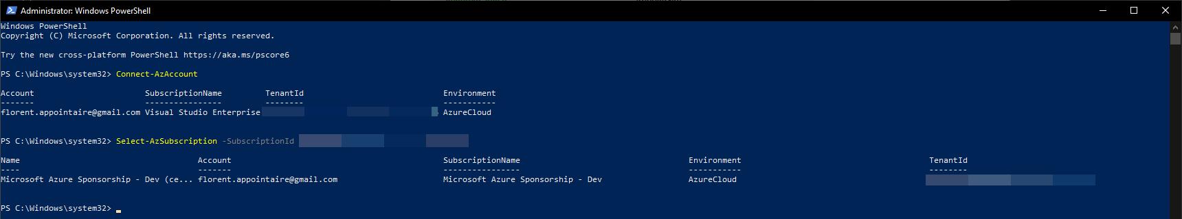Azure account in PowerShell