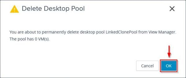 Delete the linked-clone Desktop Pool in Horizon