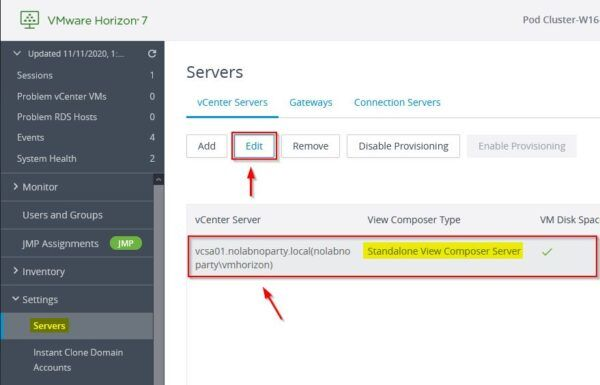 Settings > Servers and select the vCenter Servers