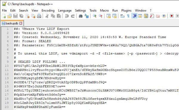VMware View LDIF Export