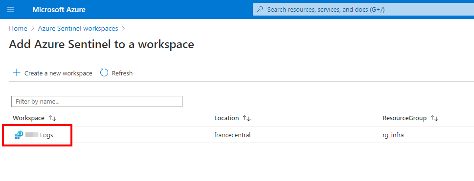 Refresh the list to select the workspace