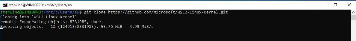 Clone the Microsoft WSL2 kernel