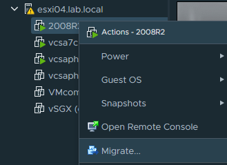 Migrate VM to another vCenter server in different SSO