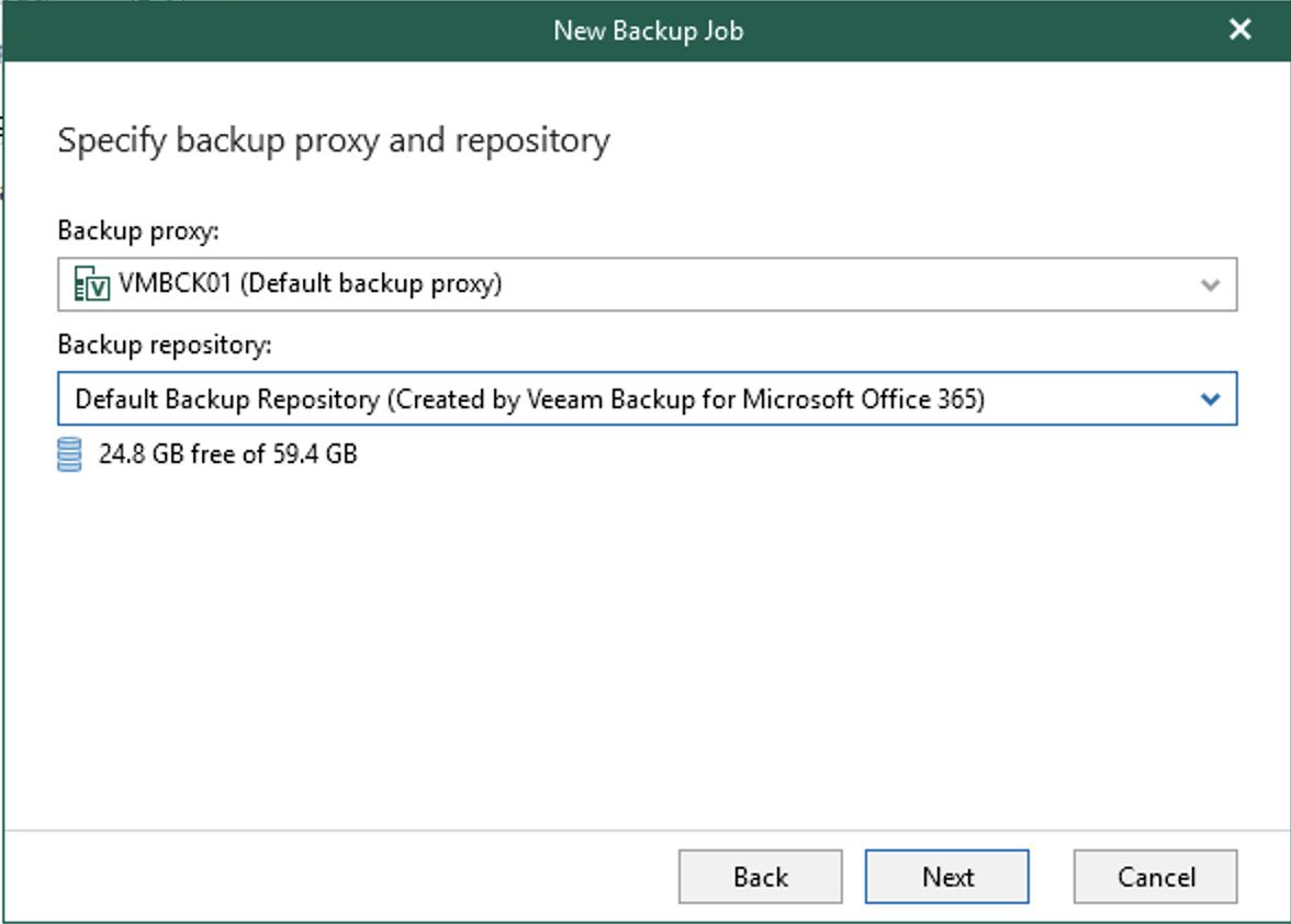 Select your backup repository