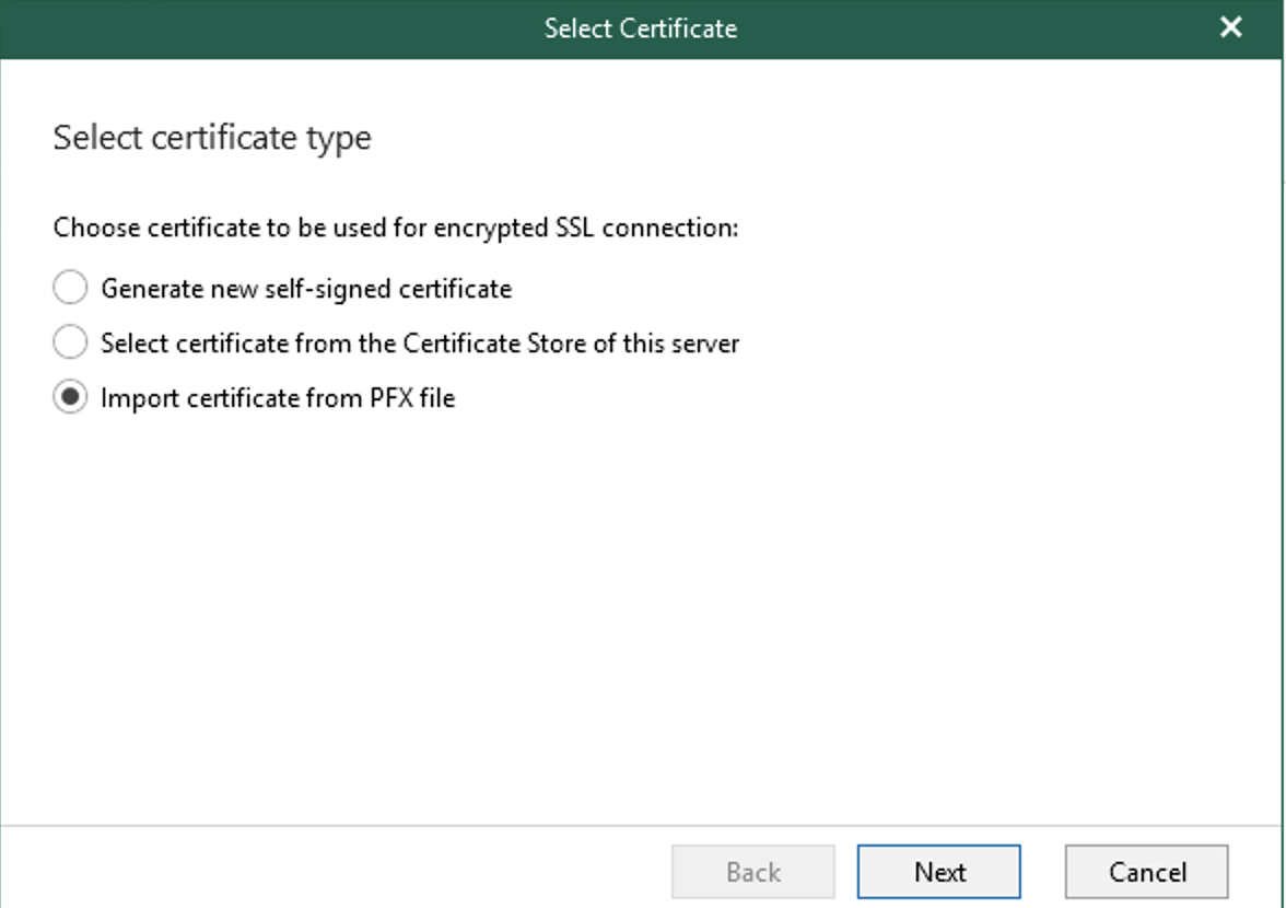 Select the certificate type