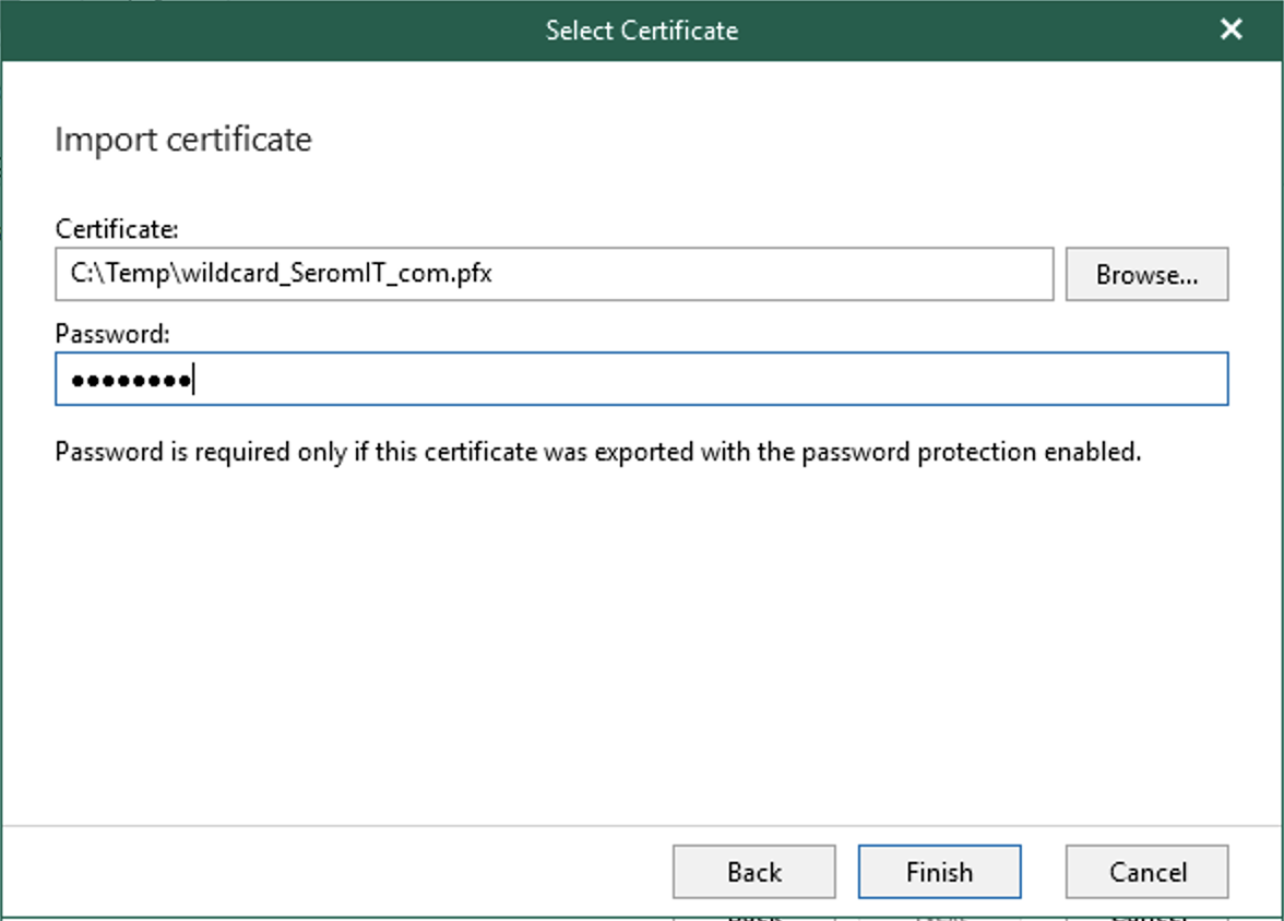 Specify the certificate path