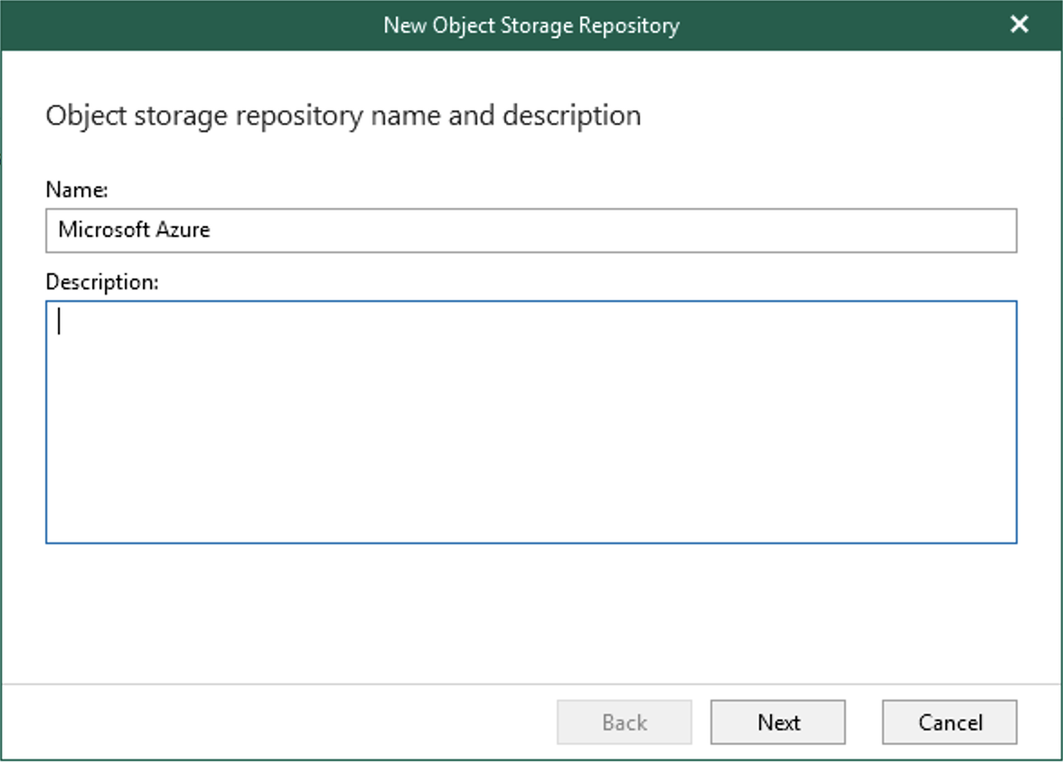 Specify a name for the object storage repository