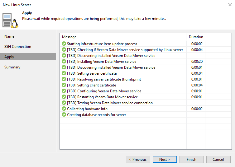 Veeam is installing the components. Note the setting of the server and client certificates