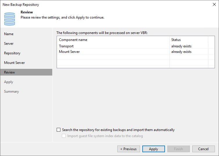 Install the required Veeam components