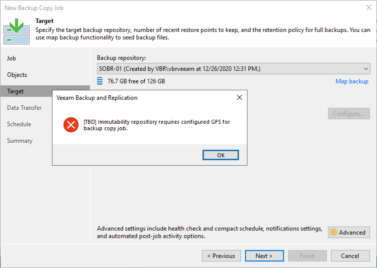 Creating a backup copy job without GFS configured