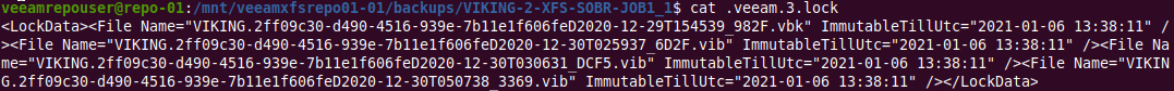 Behold the immutability dates and timestamp per file in the backup chain!