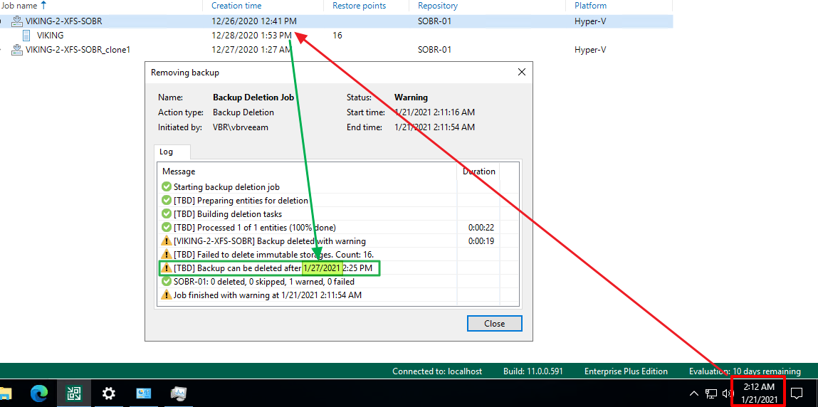 Manipulating date/ time on a compromised VBR server alone will not allow deletion of the backups from the VBR console