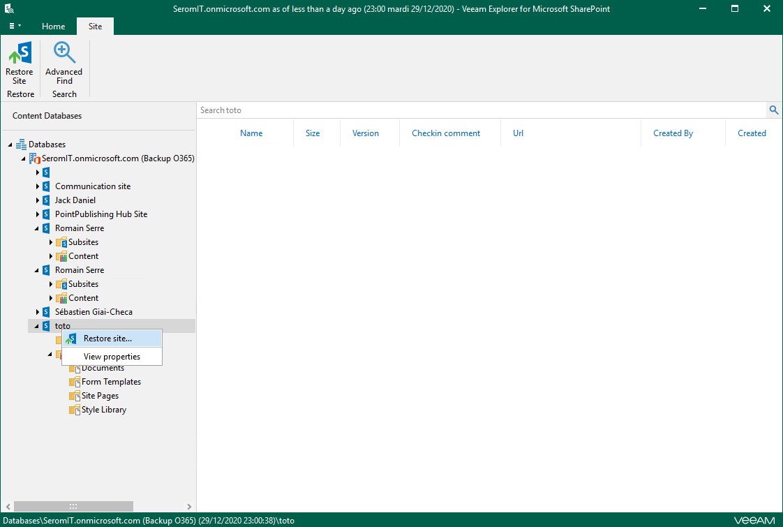 Explorer console for Sharepoint