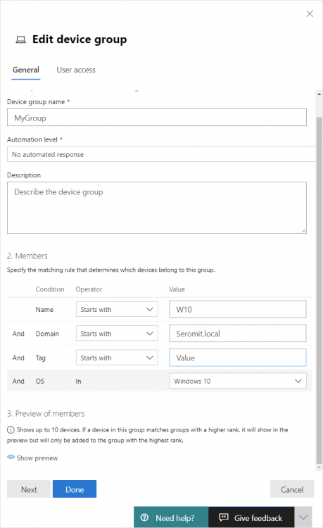 Microsoft 365 Security - Edit Device Group