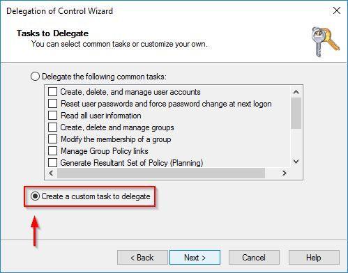 Create a custom task to delegate