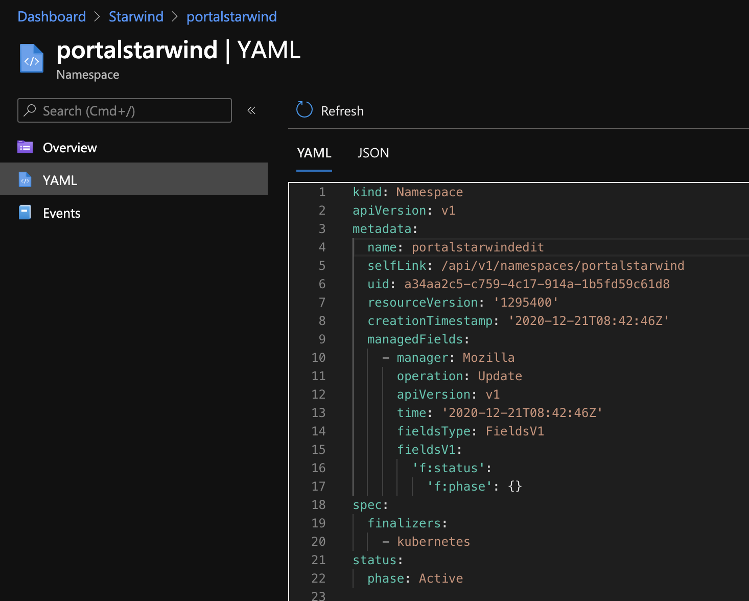 Edit the yaml, directly from the portal