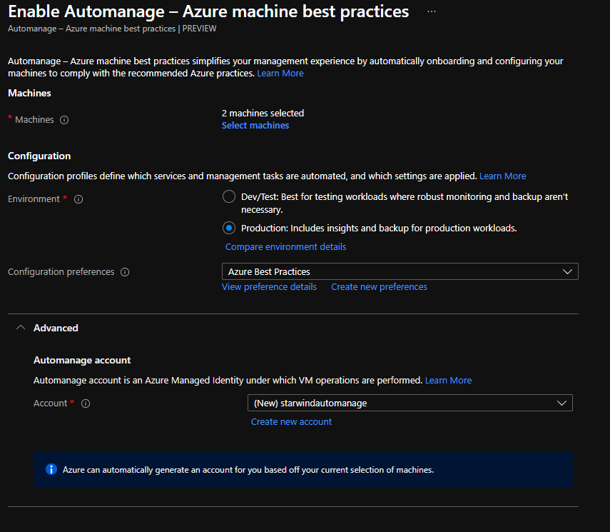 Use an existing automanage account or create a new one