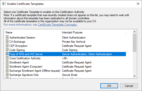 Enable Certificate Templates