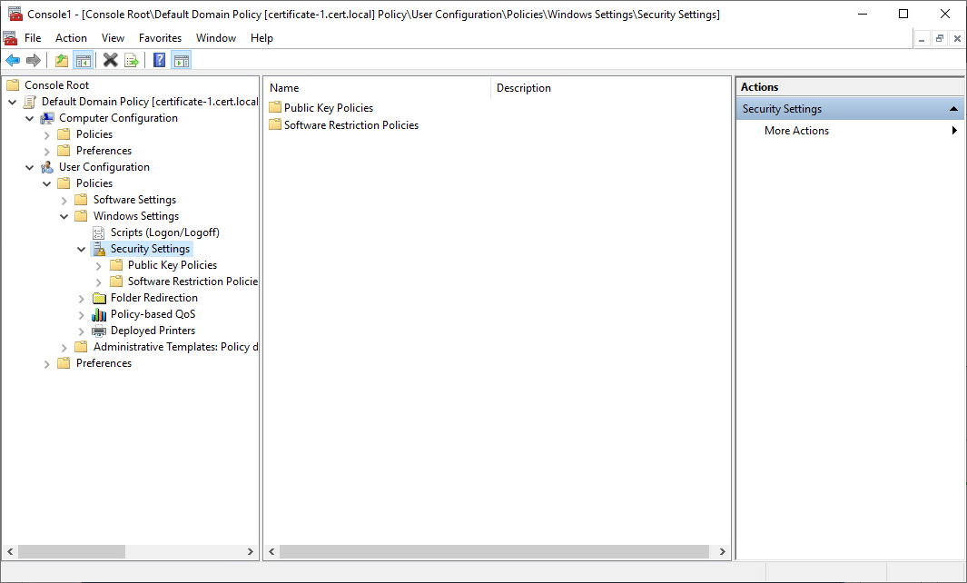 Windows Settings - Security Settings